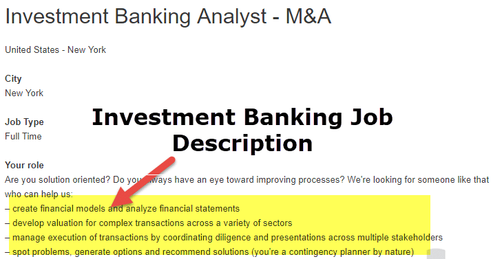 Investment Banking Analyst Career
